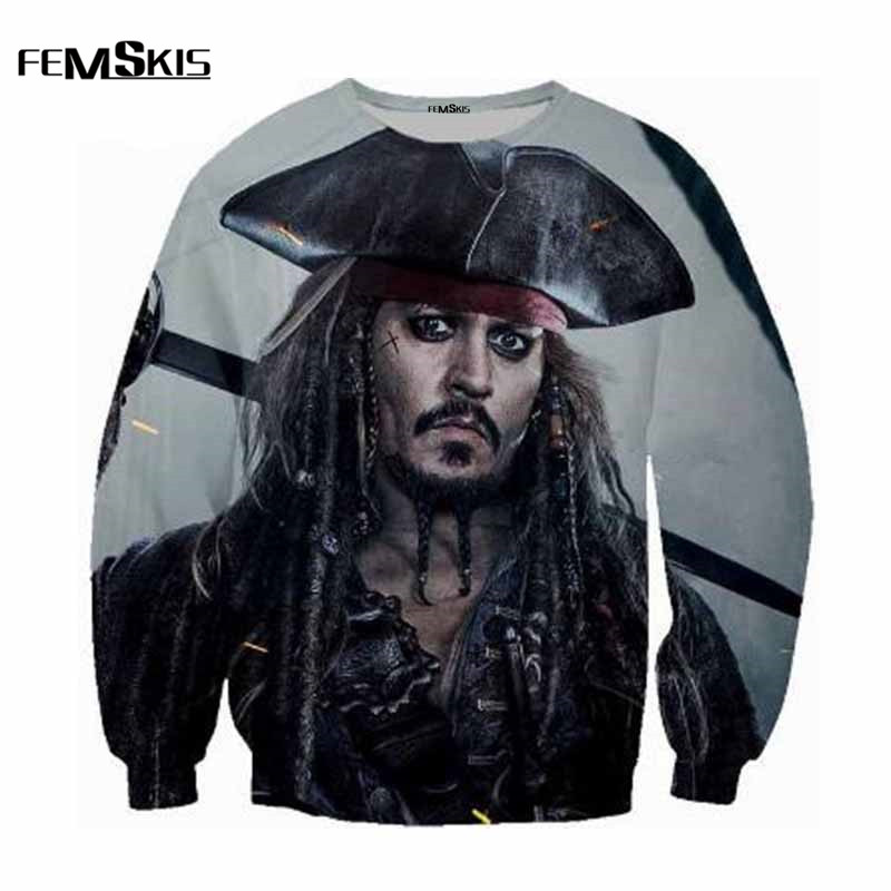 New fashion brand mens sweatshirt Caribbean Pirates print 3d sweatshirt pullover mens street hip hop sportswear