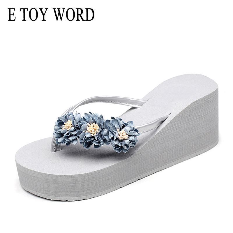 E TOY WORD Summer Beach Flowers Flip flops 2018 New Wedges Slides Casual Platform Shoes Woman Slip On Creepers Slippers HL689 yeerfa 2017 wedges sandals beach flowers flip flops slip on flats platform shoes woman casual creepers pearl slippers size 35 41