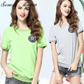 Sunasia Masino Europe /United States 2016 new summer fashion color cotton embroidery thin short sleeved T-shirt