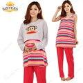 3 Peça Desgaste Do Sono Vestido Listrado Maternidade Roupas de Enfermagem Roupas amamentação Confortável T-shirt longo para As Mulheres Grávidas