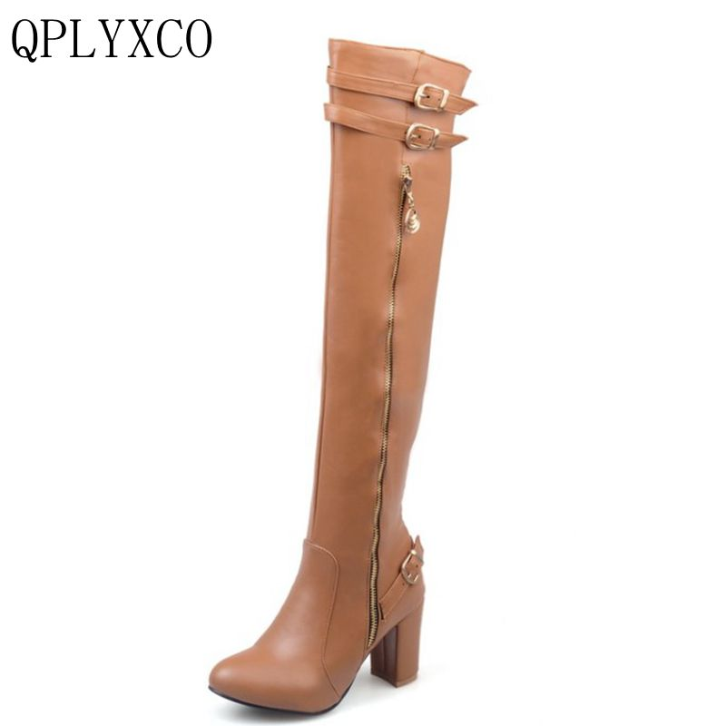 QPLYXCO 2017 New Sale Big &Small Size 32-45 long boots Fashion Women over the Knee Boots Woman Round Toe High Heels Shoes 9-16