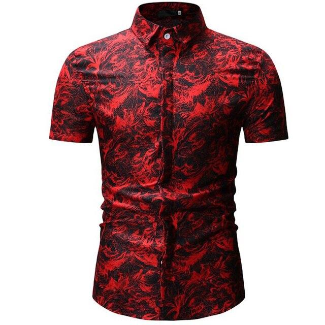 Mens Hawaiian Shirt Male Casual Camisa Masculina Printed Beach Shirts Short Sleeve Brand Clothing Free Shipping Asian Size 3XL 1