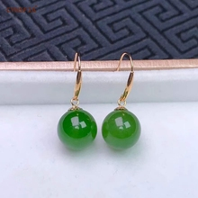 CYNSFJA Real Rare Certified Natural Hetian Jade Jasper 18k Gold Handmade Fine Jewelry Green Earrings High Quality Best Gift