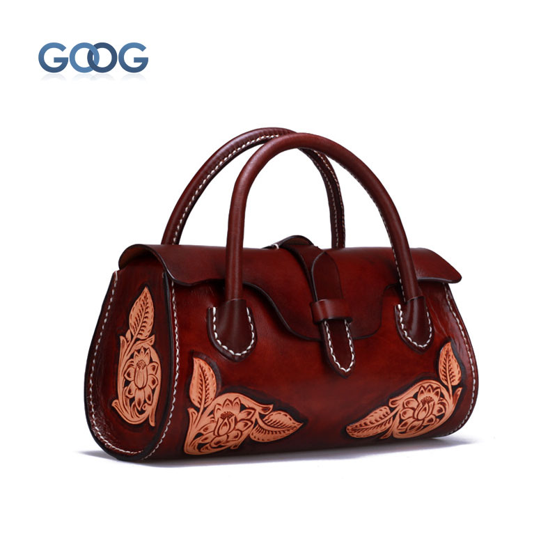 Creative handmade leather carvings female bag cross section square leather handbag head layer cowhide retro personality europe and the new spring and summer leather handbag bag simple cross head layer cowhide temperament mini bag tote bag