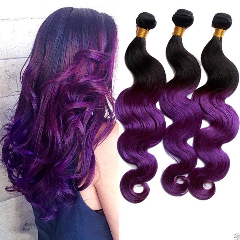 2 Tone Purple Hair Extension Ombre Purple Peruvian Humain Hair Cheap