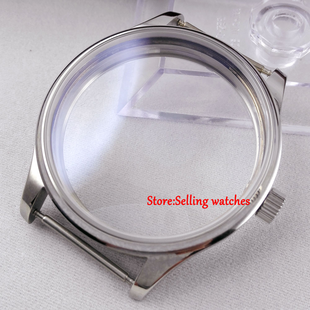 44mm parnis watch sterile CASE fit eta 6498 6497 hand winding eat movement цена и фото