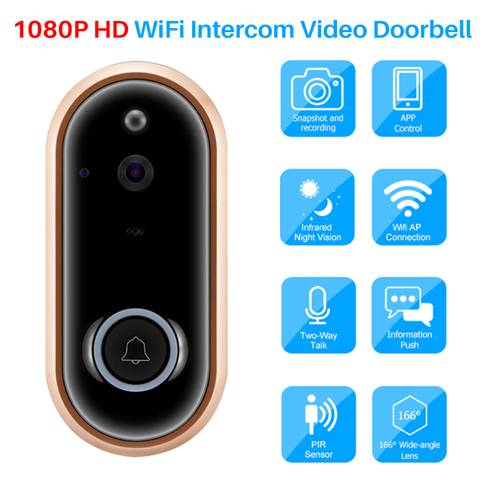 Video Doorbell WiFi Wireless 1080P HD Security Camera Video Two-Way Talk PIR Motion Detection App Control For IOS And Android