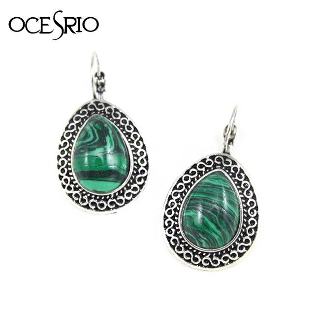 Ocesrio Vintage Earrings With Green Stone Tear Drop For Women Jewelry Gifts Bijouterie Ers