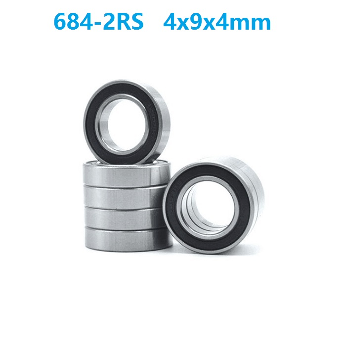 684-2RS 50 PCS Metal Rubber Ball Bearing Bearings Black 684RS 4*9*4 4x9x4 mm