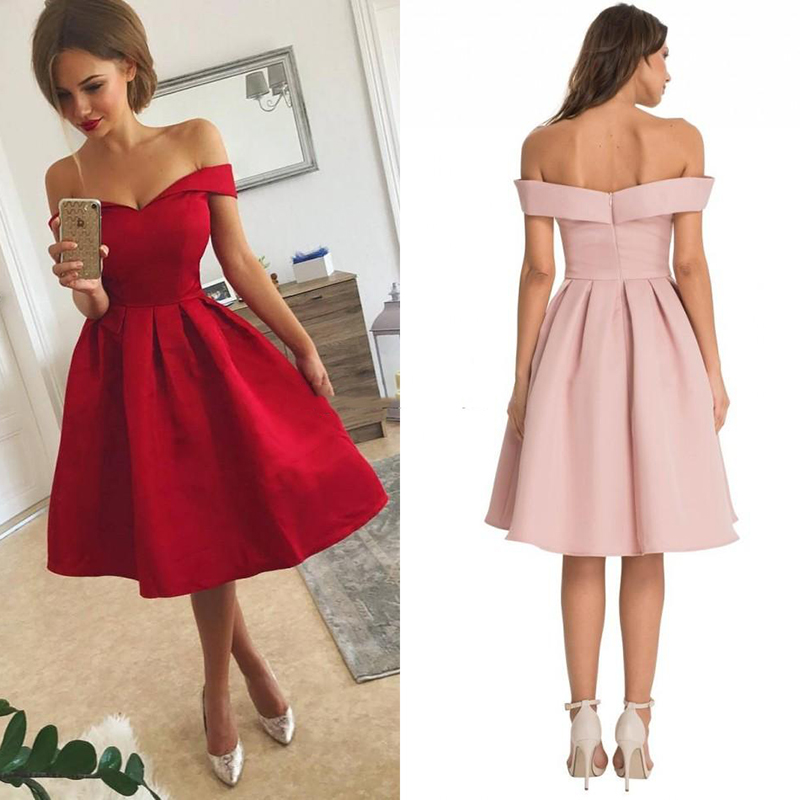 Sexy Boat Neck Short   Bridesmaid     dresses   2018 Simple Red   bridesmaid     dress   Robe demoiselle Prom   Dress   Party Gowns Custom Made