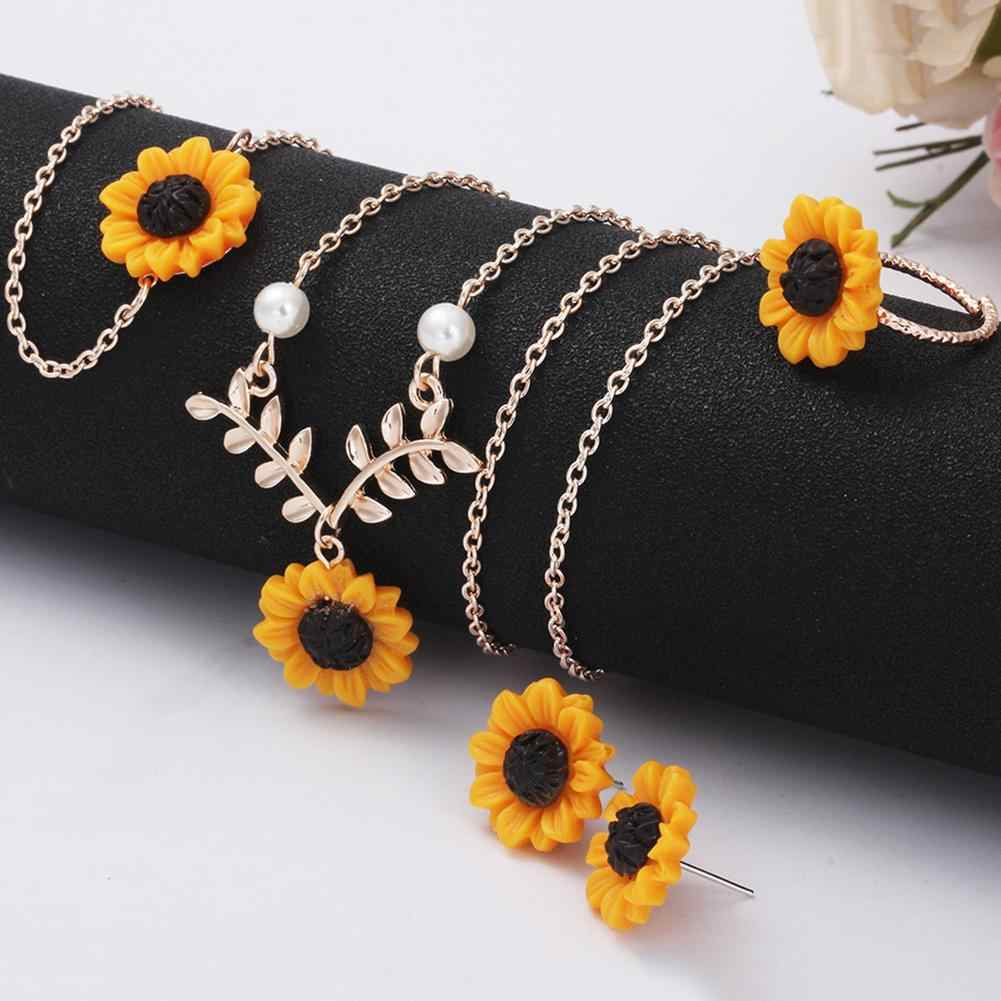 3/5Pcs Lady Sunflower Leaf Faux Pearl Charm Necklace Earrings Bracelet Ring Set trendy