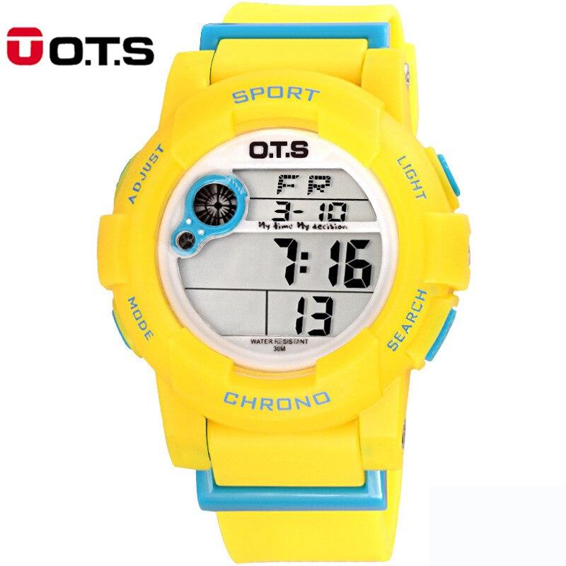 Environmental OTS Waterproof Children Boys Girls Kids Digital Multifunction LED Quartz Alarm Date Sports Wrist Watch Alipower