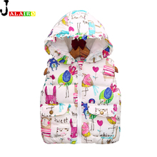 2016 Kids Vest Winter Outerwear Coats Animal Graffiti Thick Princess Girls Vest Hooded Kids Jackets Baby