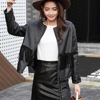 DoreenBow New Design Spring Autumn Lady Fashion PU Tassels Jacket Women Black Moto Biker Style Zipper