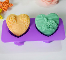 Flower Pattern Heart Shape Soap Mold Handmade Silicone Mould