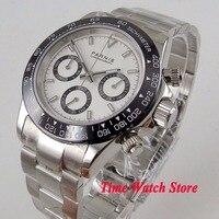 Одноцветное 39 мм Парнис кварцевые мужские часы Полный Хронограф белый циферблат световой сапфировое стекло черный ободок секундомер для м