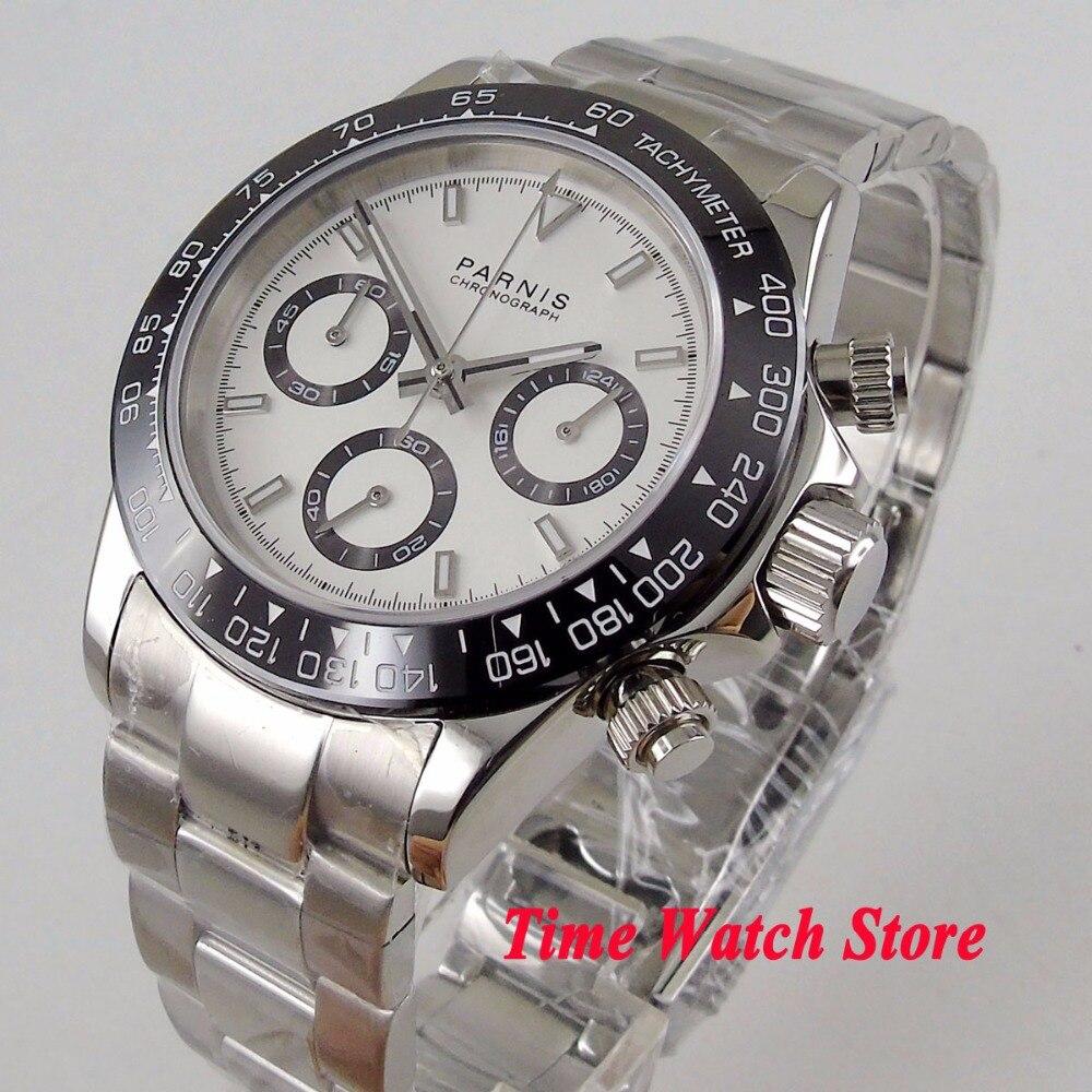 Solide 39mm PARNIS Quartz hommes montre Plein Chronographe cadran blanc lumineux verre saphir noir lunette chronomètre hommes 1177