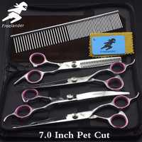 """6.0~7.0""""Inch Professional pet grooming kit, direct and thinning scissors and curved pieces 4 pieces.  Silver pet scissors set"""