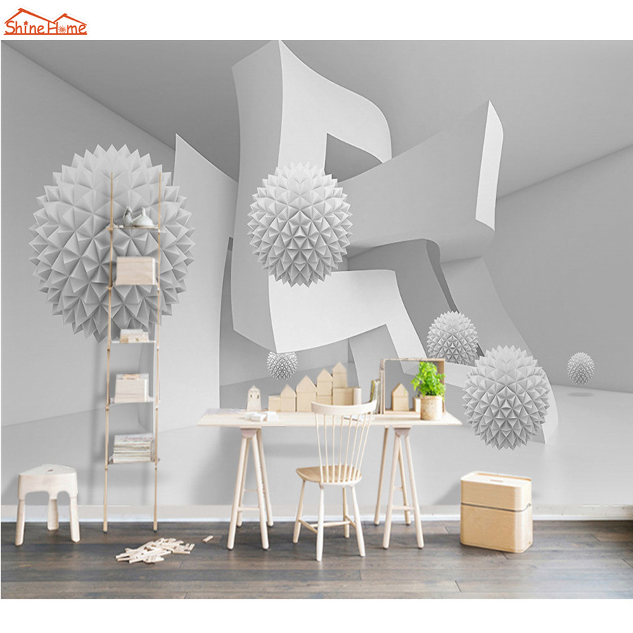 Shinehome-Modern 3d Abstract Geometric Space Brick Ball Mural Rolls Wallpaper for 3d Living Room Wall Paper Roll Papel De Parede