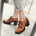 Casual Lace Up Thick High Heel Shoes Fashion PU Leather Woman Pumps Heels apricot Color Plus Size