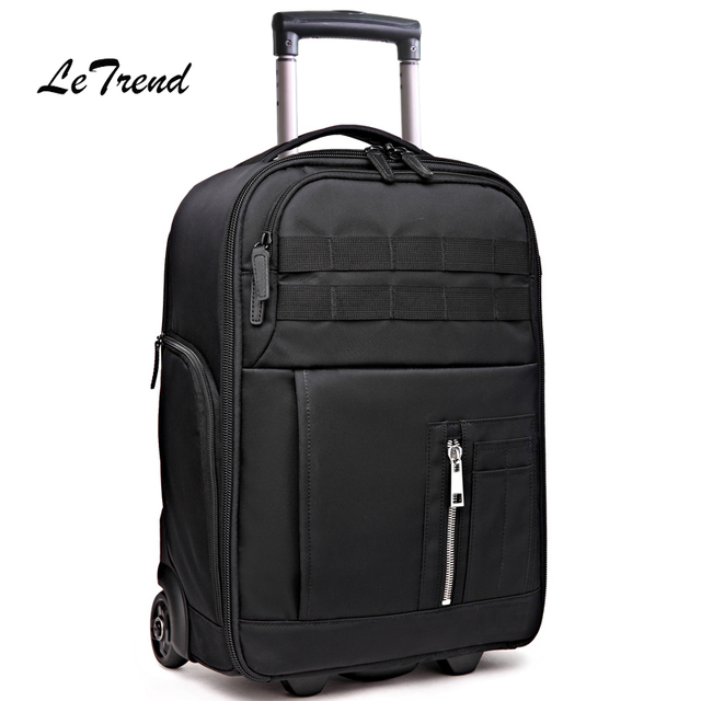 Letrend Multi-function Travel Bag Cabin Suitcase Wheels Photography Backpack Capacity Rolling Luggage SLR camera bag Trolley