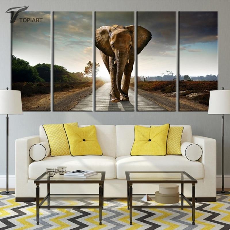 5 Piece Canvas Painting Wild Elephant Wall Art Canvas ...