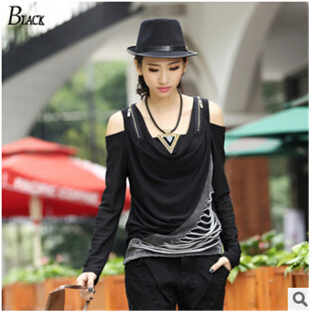 Hipster womens tops fashion 2015 Sexy summer women clothing Black Trend off Shoulder Sleeve plus size women shirts 2 style