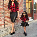 Baby girl summer Clothing Plaid Long-sleeve Top Shirt Leather Skirt Suits Turn Down Collar Tops Pleated Skirt Girls 2pcs Sets