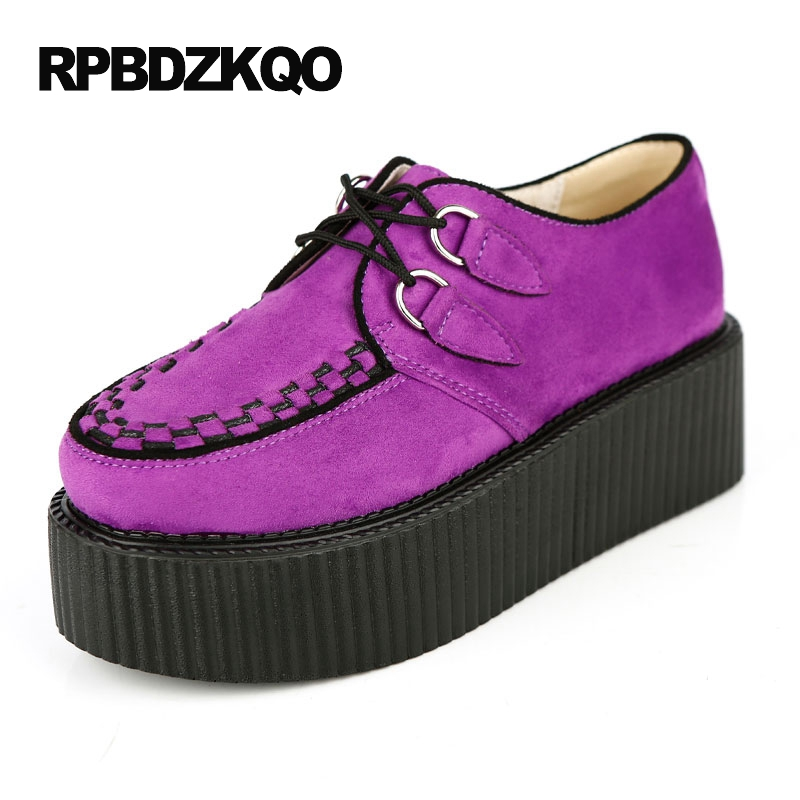 Women Platform Suede Thick Sole Creepers Purple Muffin Blue 10 Yellow Wide Fit Shoes Ladies 11 Lace Up Velvet Harajuku Japanese women harajuku cartoon lace up wedges platform shoes 2015 casual shoes trifle thick soled graffiti flat shoes ladies creepers