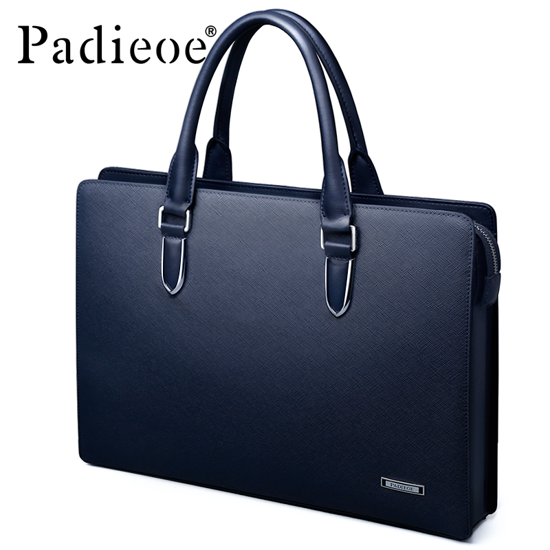 Padieoe Genuine Leather Business Men s Briefcase for Documents Luxury Fashion Casual Real Cowhide Leather Shoulder