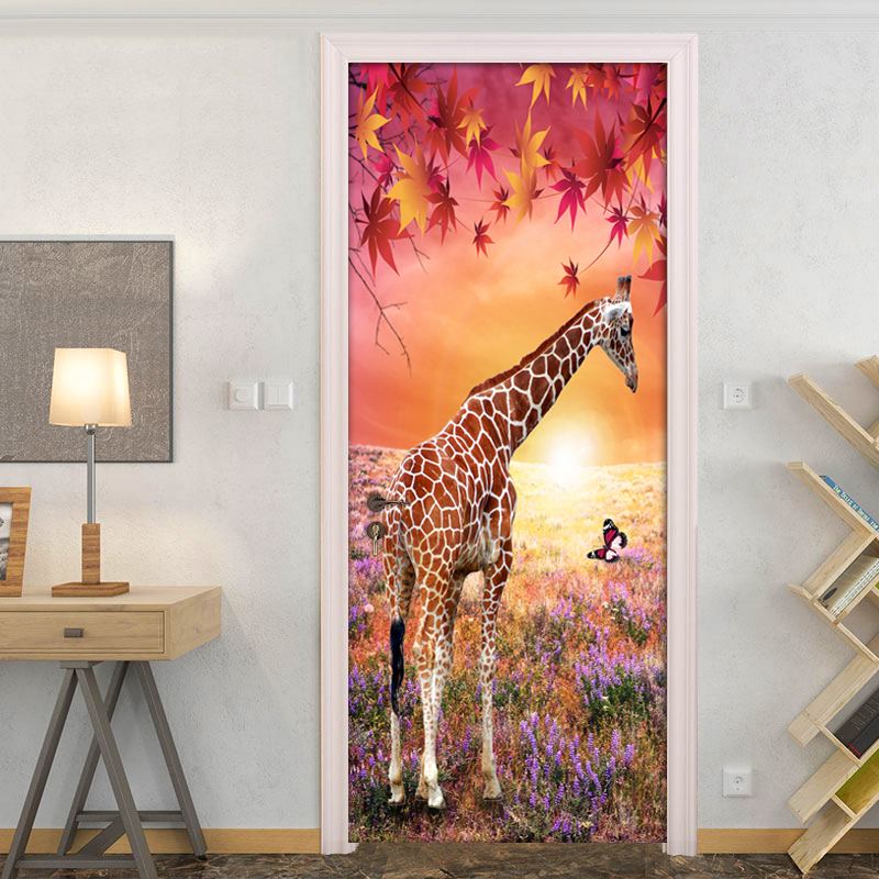 Maple Leaf Giraffe 3D Nature Landscape DIY Door Sticker PVC Mural Wallpaper  For Living Room Bedroom Wall Paper Home Decor Modern In Wallpapers From  Home ...