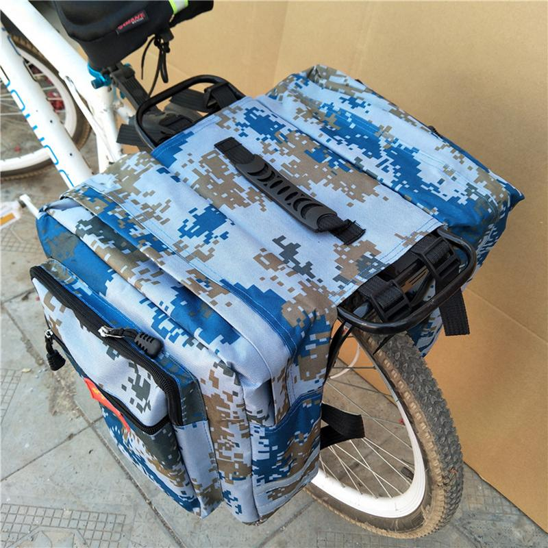 Enlarged Camo Saddle Bag 35l MTB Mountain Bike Rack Saddle Bag Multifunction Road Bicycle Pannier Rear Seat Trunk Bag