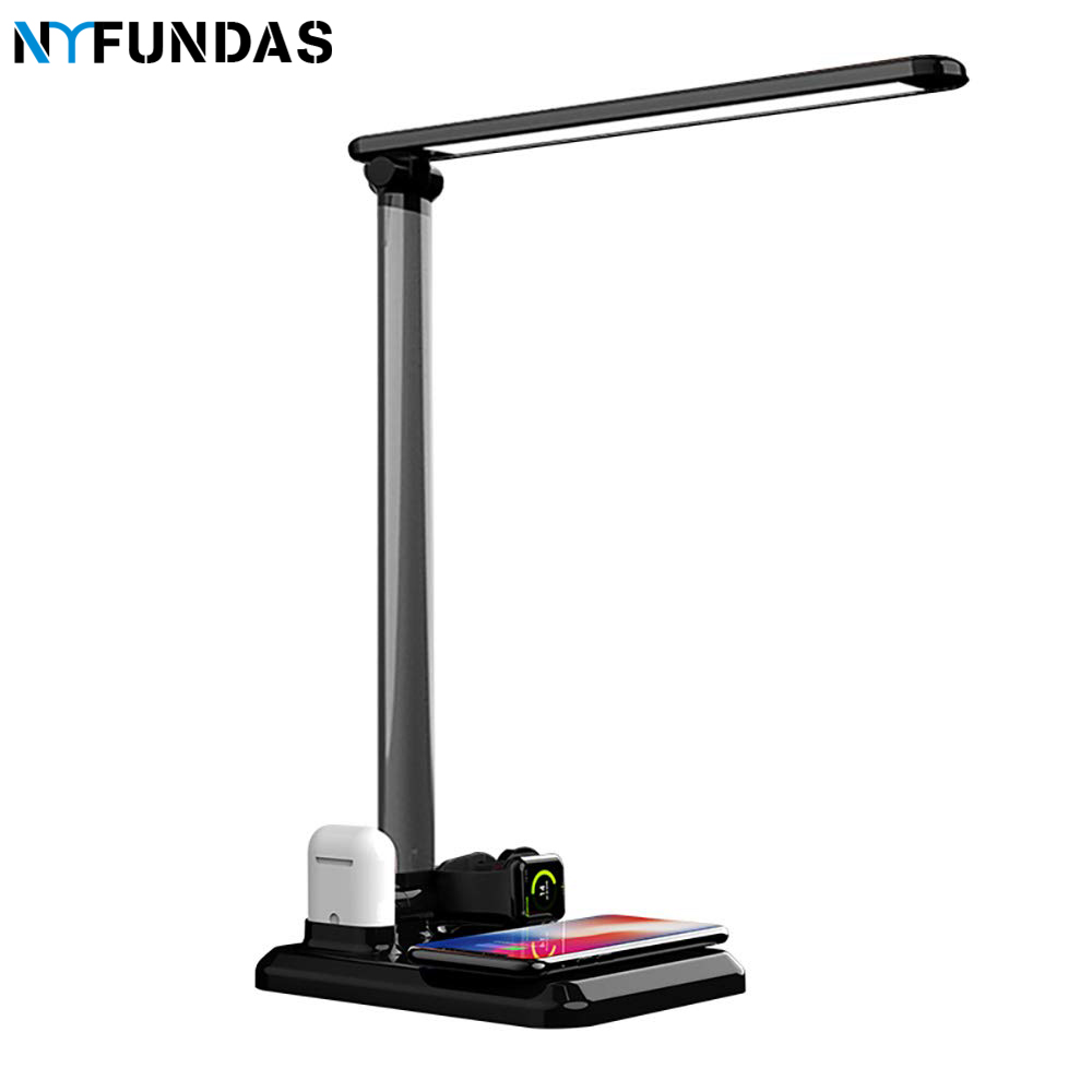 NYFundas Wireless LED Desk Lamp Holder Station Charger 10W For Apple Watch Series 4 3 2 Iphone XS MAX XR 8 Plus X Iwatch airpods-in Phone Holders & Stands from Cellphones & Telecommunications    1