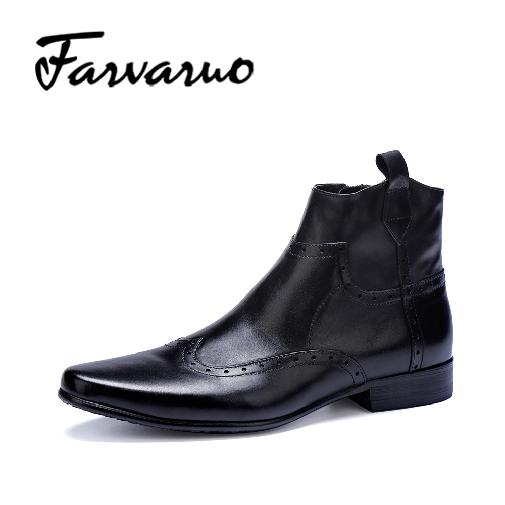 Farvarwo Mens Wingtip Brogue Dress Boots Genuine Leather Flat Round Toe Winter Ankle Boot Italian Formal Shoes Men BLack Chelsea farvarwo formal retro buckle chelsea boots mens genuine leather flat round toe ankle slip on boot black kanye west winter shoes