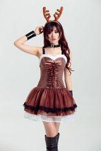 Europa navidad ciervos animales de halloween cosplay ds coffe tirantes dress disfraces para mujeres disfraces adultos disfraz sexy
