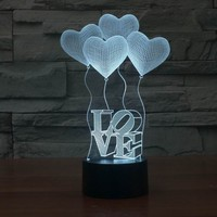 3D Night Light 7 Color Change Heart Shape Acrylic LED Table Lamp USB Mood Light For Bedroom Bedside Lover Valentines Wife Gift