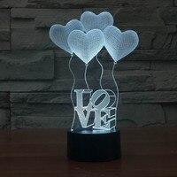 3D Night Light 7 Color Change Heart Shape Acrylic LED Table Lamp USB Mood Light For Bedroom Bedside Lover Valentines Wife Gift