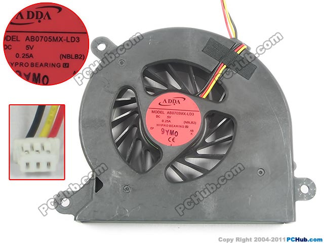 ADDA AB0705MX-LD3, (NBLB2) DC 5V 0.25A 3 wire   Server Bare fan free shipping for sunon eg50040v1 c06c s9a dc 5v 2 00w 8 wire 8 pin server laptop fan