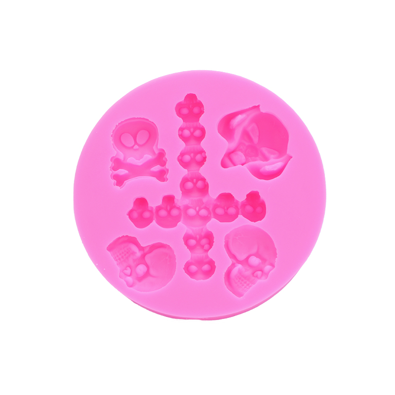 Halloween 3D Cross Skull Shape Fondant cake silicone mould Kitchen for Gum paste Chocolate Trim molding removal tool set FT-0487