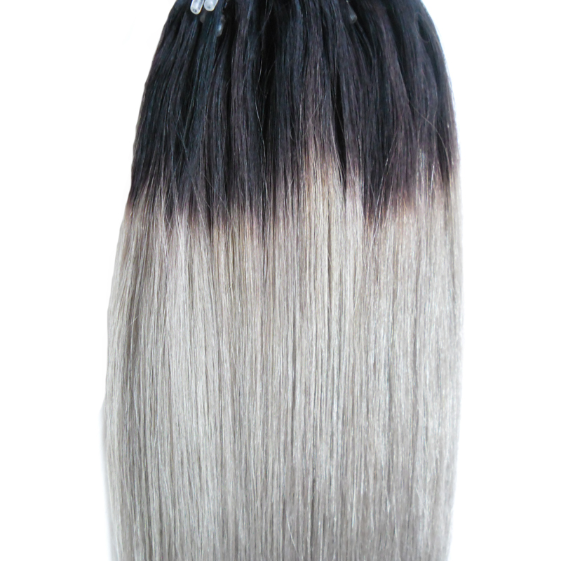 Stock Apply Micro Link Hair Extensions Human 1g 1bgrey Two Tone