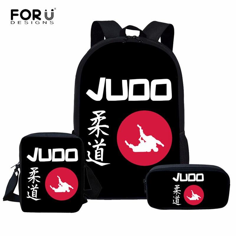FORUDESIGNS Cool Martial Arts Judo Printed School Bags For Kids Black Backpack Aikido Children Schoolbag Set Women Men Mochila