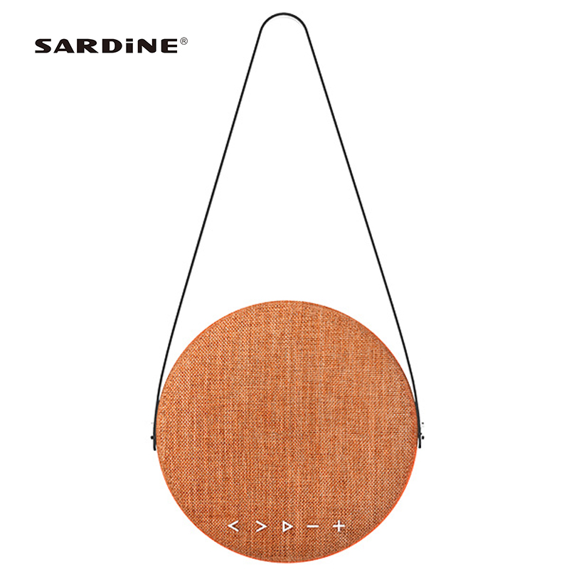 Newest Sardine F6 <font><b>bluetooth</b></font> speaker with <font><b>belt</b></font> standing holder 4000mAh 80hz-18KHZ fabric cover sound box for indoor and outdoor