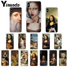 Yinuoda Funny Leonardo da Vinci Mona Lisa Pat Cat Art Aesthetics painting Phone Case for iPhone 8 7 6 6S Plus X XS MAX 5S SE XR