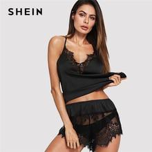 SHEIN เซ็กซี่สีดำตัด V คอ Halter Satin Cami และ Sheer ลูกไม้กางเกงขาสั้น PJ ชุดนอนผู้หญิง 2019 ฤดูร้อนชุด