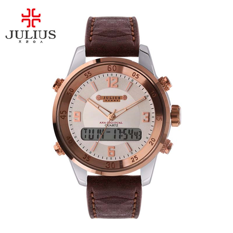 Real Functions Julius Men's Watch Japan Quartz Digital Alarm Hours Fashion Bracelet Leather Boy Birthday Father's Day Gift real functions julius shell women s watch isa mov t hours clock fine fashion bracelet sport leather birthday girl gift box