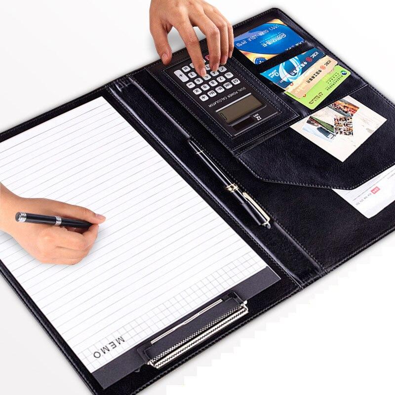 A4 pasta de arquivo de couro do plutônio com calculadora multifuncional escritório suprimentos organizador gerente documentos padfolio pasta sacos