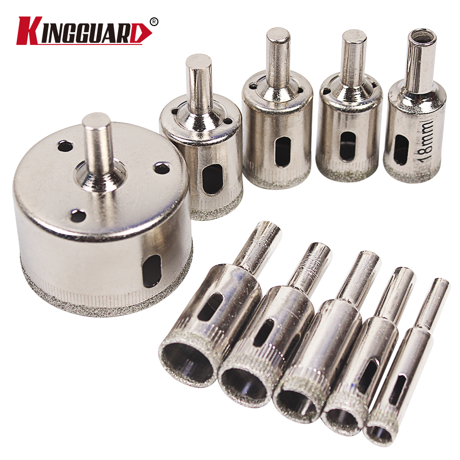 Hot Sale 10PCS/set 8-50mm Diamond Coated Core Hole Saw Drill Bits Tool Cutter For Tiles Marble Glass Granite Drilling Best Price wood working tool kit 12mm shaft diamond grinding head for marble granite stone and tiles glass at good price export quality