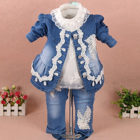 72651d70a7c1 new 2017 spring girls high quality denim jacket lace patchwork flower t  shirt clothing sets 3pc baby girl denim clothes sets
