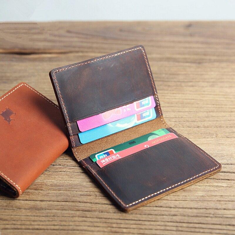 Men Real Leather ID credit card holder short small Slim wallet business cards Bus traffic slide wallet