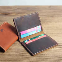 Men Real Leather ID credit card holder short small Slim wallet business cards Bus traffic